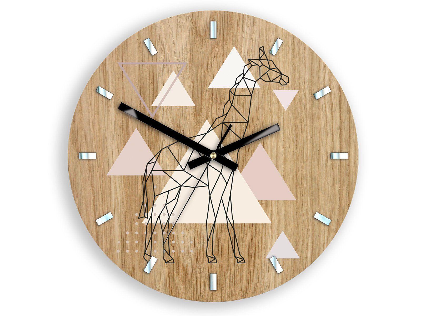 Large Wall Clock In Scandinavian Style Geometric Giraffe 33 Etsy Large Wall Clock Clock Wall Clock