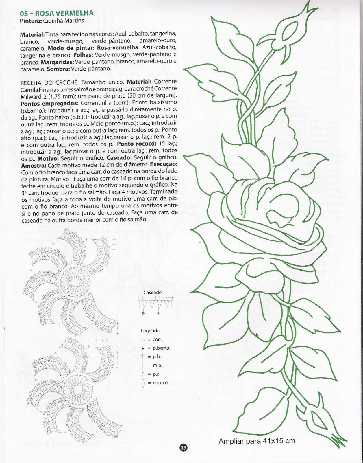 Bicos de Croche: bico de crochê flor estilizada