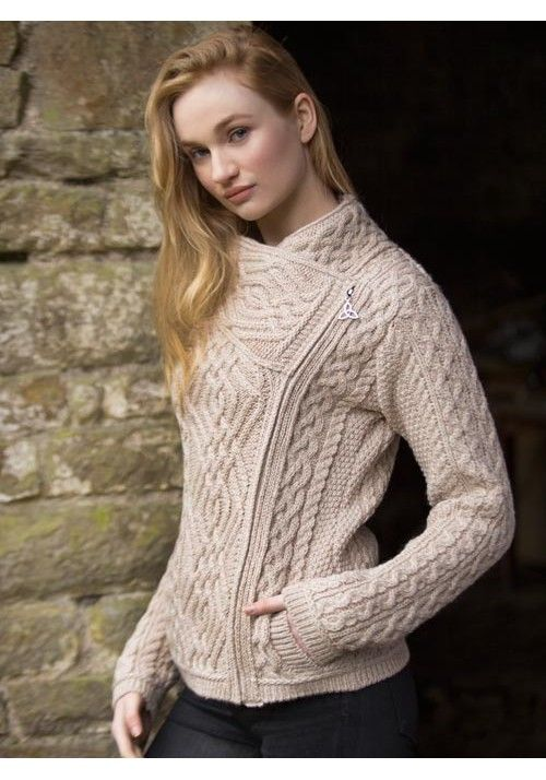 CABLE KNIT SIDE ZIP JACKET Made from 100% Merino Wool Colours ...