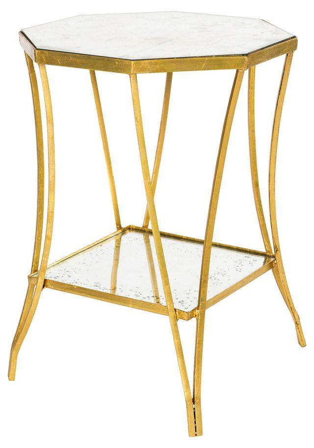Cuadrado Two Tiered Side Table Gold Side Table Mirrored Furniture Modern Accent Tables