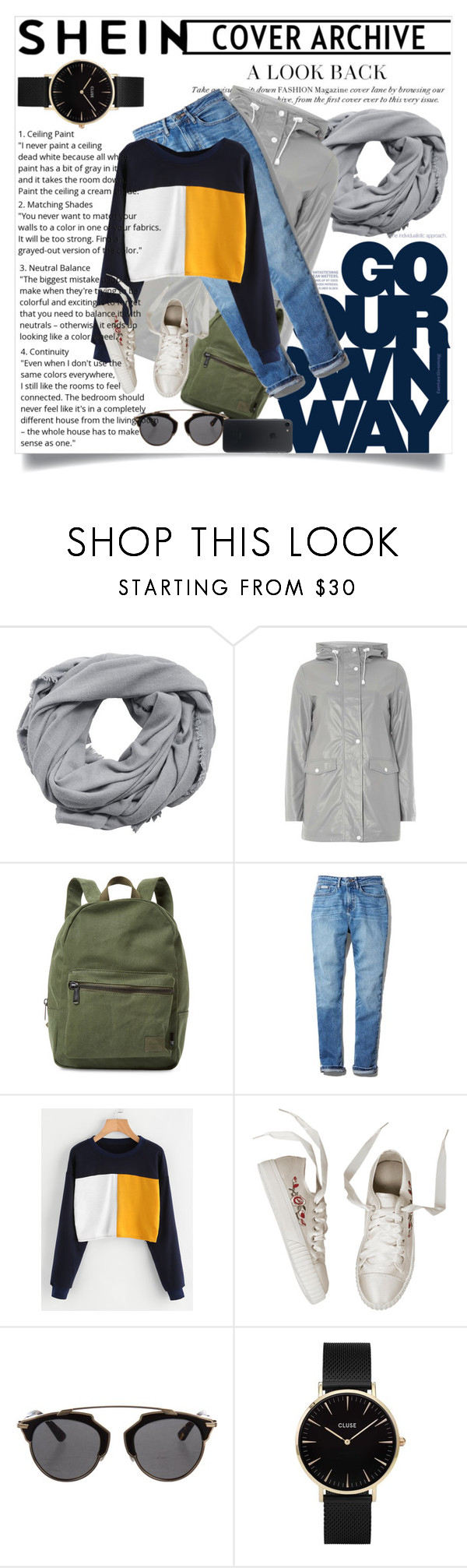 """""""SHEIN contest"""" by maidaa12 ❤ liked on Polyvore featuring MANGO, Dorothy Perkins, Herschel Supply Co., Calvin Klein, Christian Dior and CLUSE"""