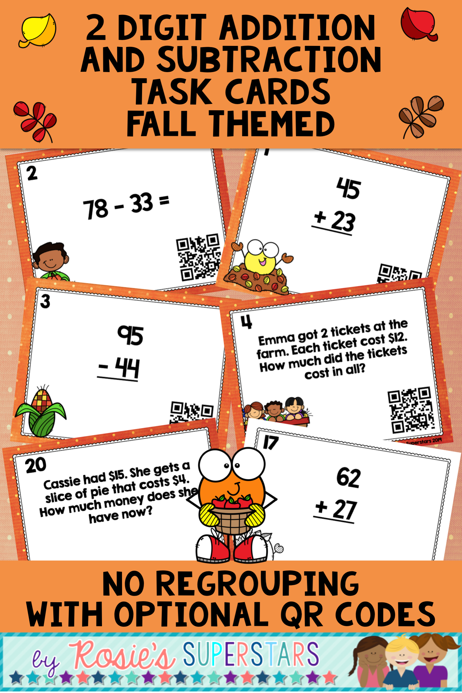 Fall 2 Digit Addition And Subtraction Task Cards With Qr