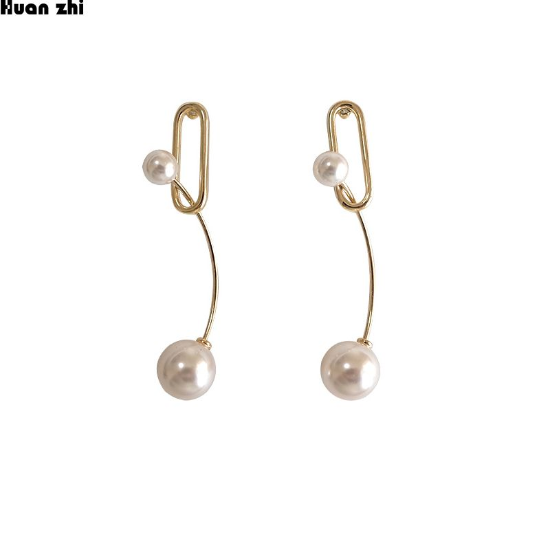 HUANZHI S925 Sterling Silver Pin Gold Metal Curved Lines Double Pearl Geometric Square Long Earrings Metal Color A
