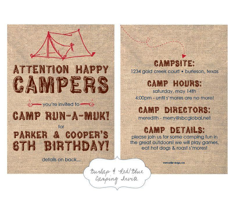 Camping Party Invitation 5x7 Printable Design 1500 via Etsy
