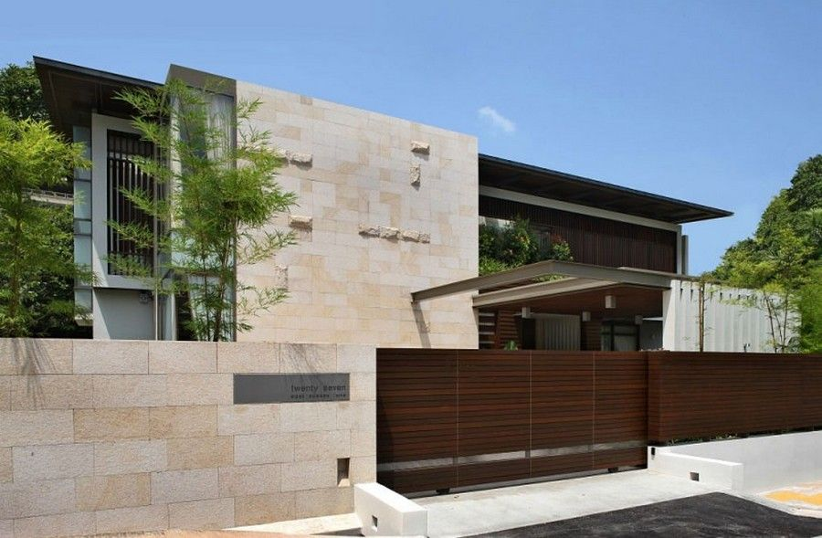 Modern gate and wood fence designs for minimalist home for Modern house gate