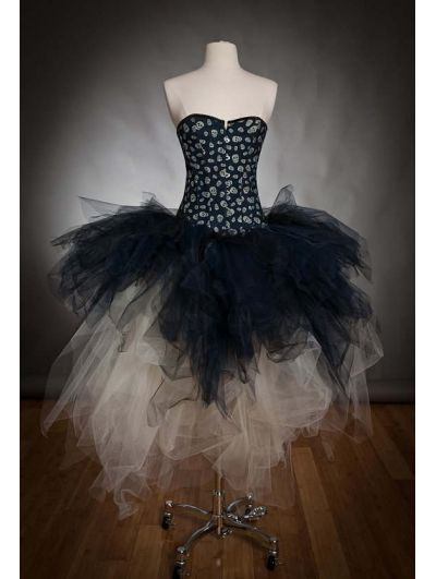 Alternative Fashion Black and Ivory Gothic Corset Prom Party Dress ...