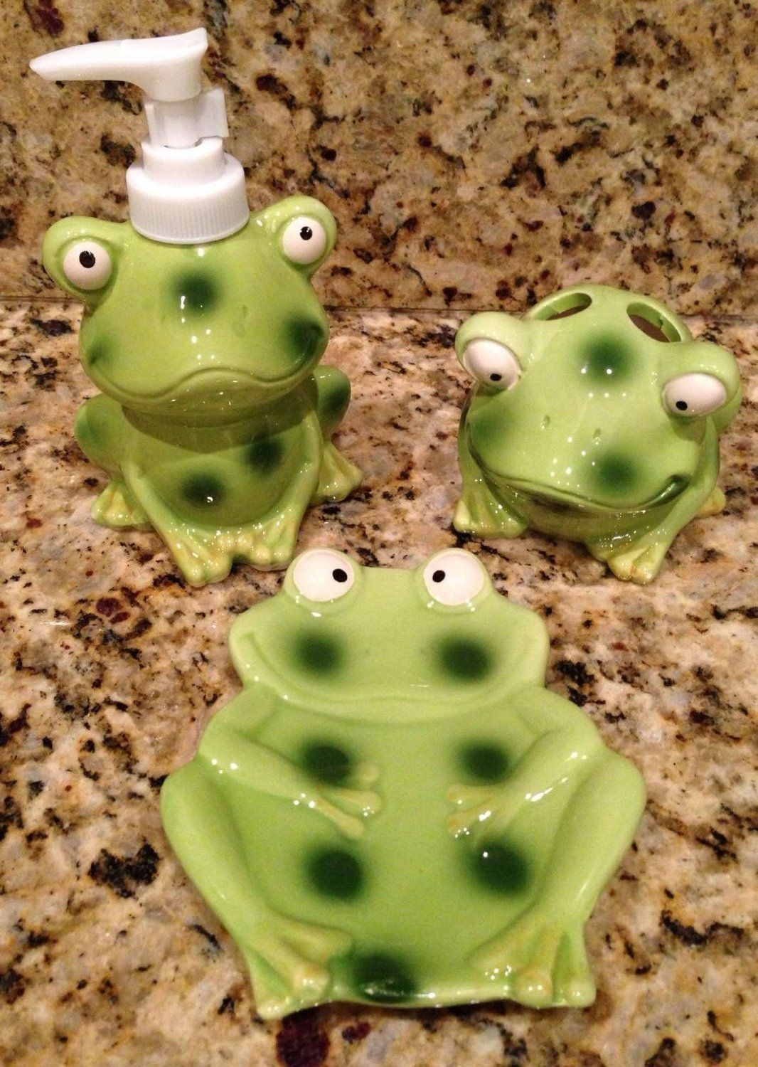 Frog/Toad Bathroom Decor Accessory Set | Frogs | Pinterest | Frog ...