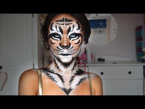 Tiger Halloween Makeup Tutorial - ShelingBeauty - YouTube