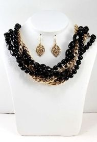 NECKLACE & EARRINGS SET!  Braided Chain & Natural Style Beads! Gold/Black.  www.5dollarfashions.com