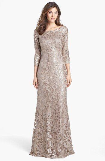 Tadashi Shoji Embellished Lace Gown: