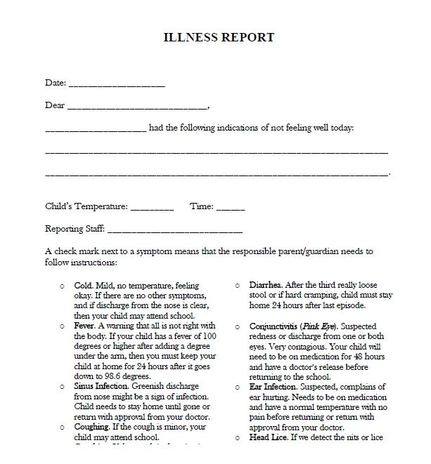 Illness Report Daycare Docs Pinterest Daycare forms - parent release form