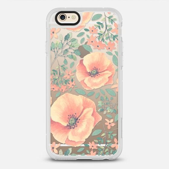 Peach Florals - New Standard Case in Clear and Clear by @Samantha Ranlet | @Casetify