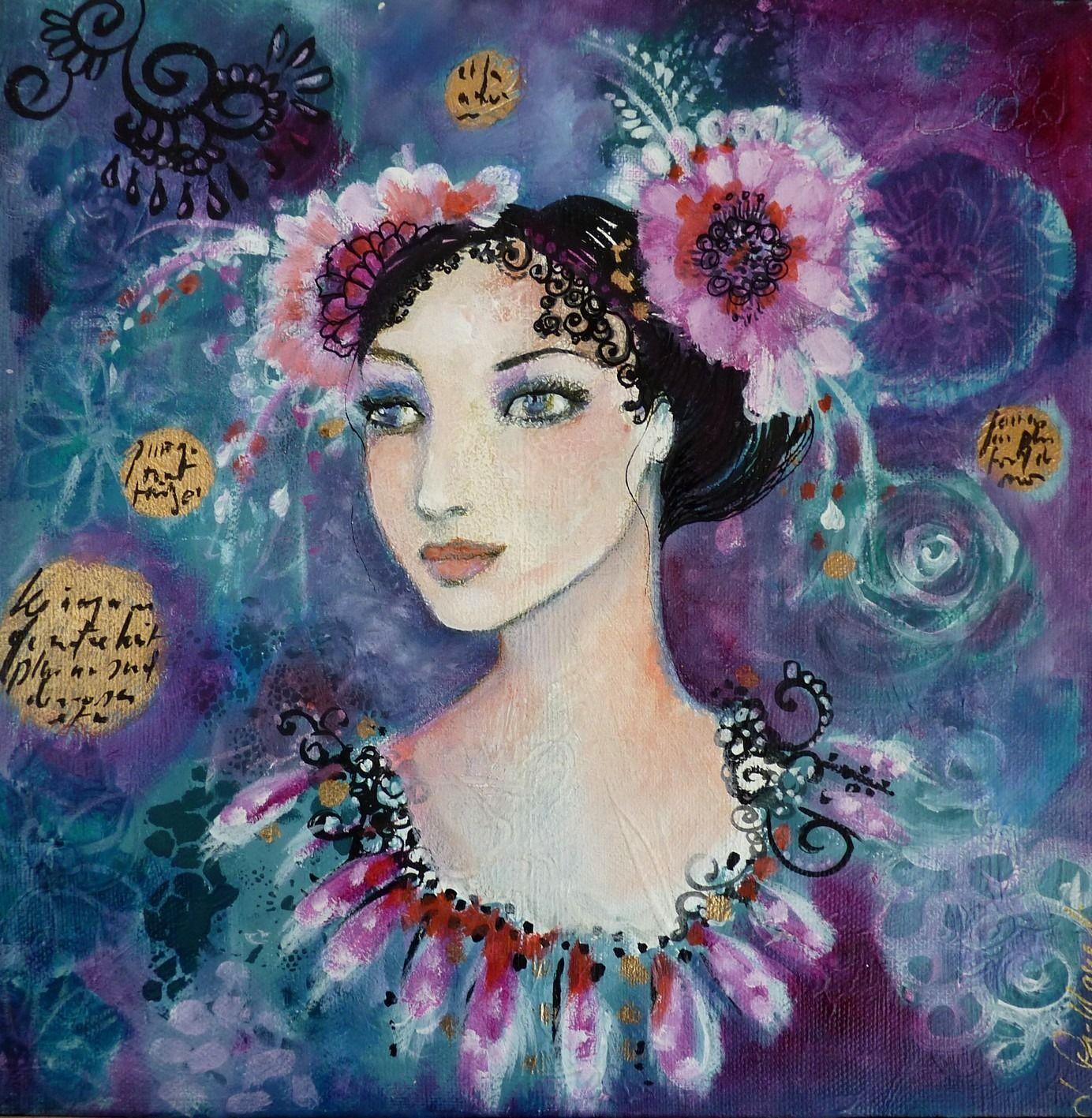tableau portrait femme romantique fleurs fleurir nos souvenir 2 peintures par pivoine. Black Bedroom Furniture Sets. Home Design Ideas
