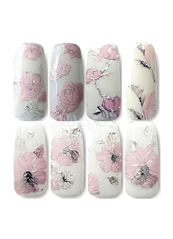 Nail Art Stickers Floral Printed Women's Stylish Nail Decals(2 Pieces A Set )