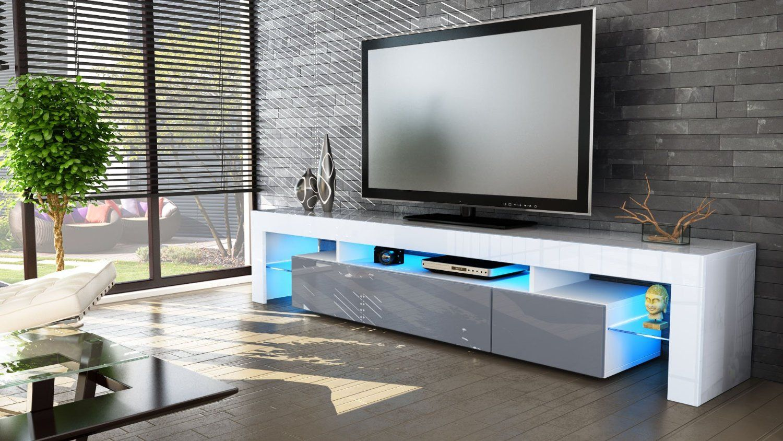 TV Board Lowboard Lima V2 in Weiß / Weiß Hochglanz: Amazon.de: Küche ...