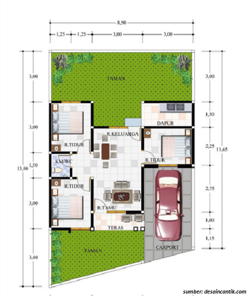 Denah Rumah 1 Lantai Ukuran 6x10 Desain Rumah Rumah Denah Lantai Rumah