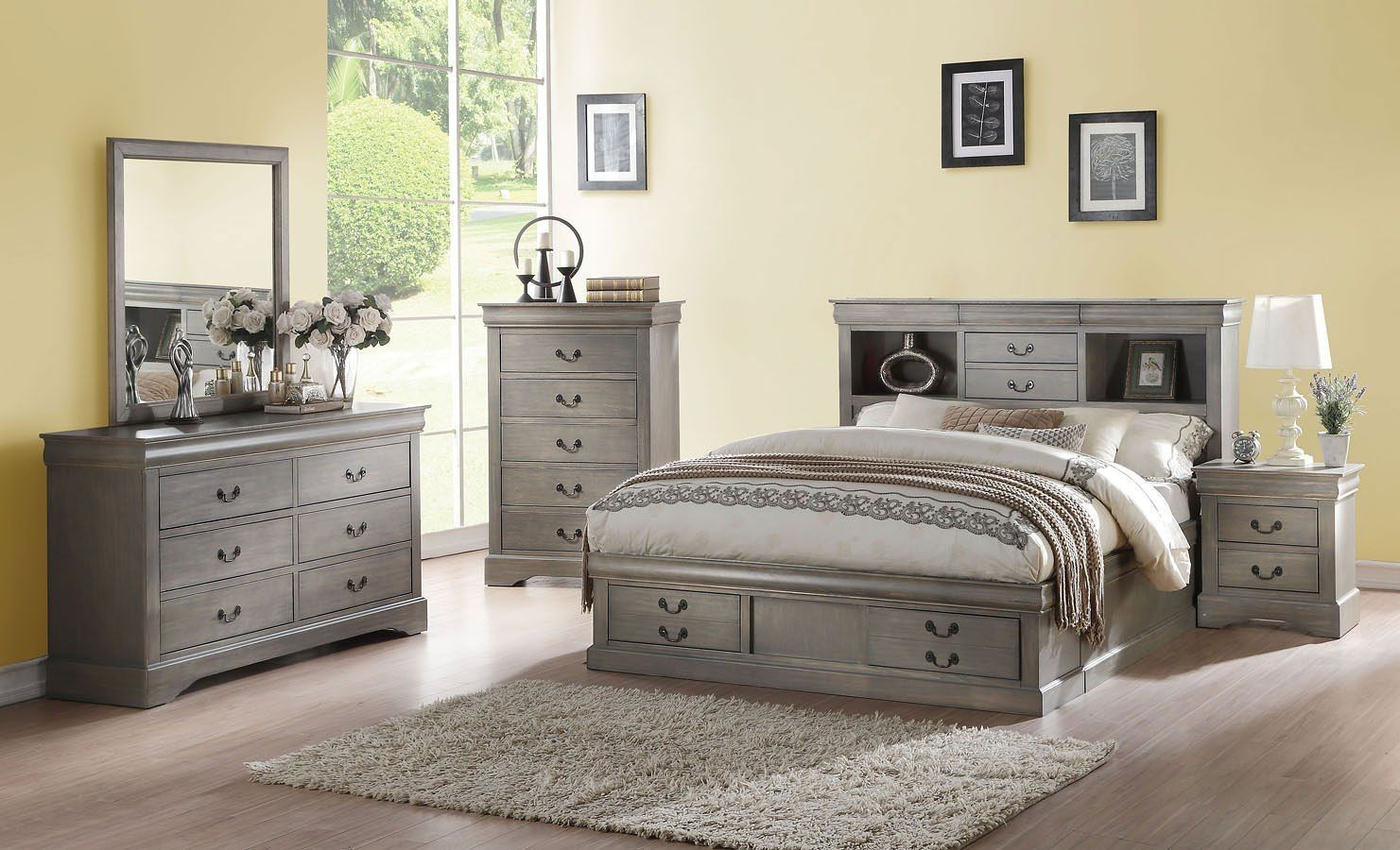 Louis Philippe III Bookcase Bedroom Set (Antique Gray