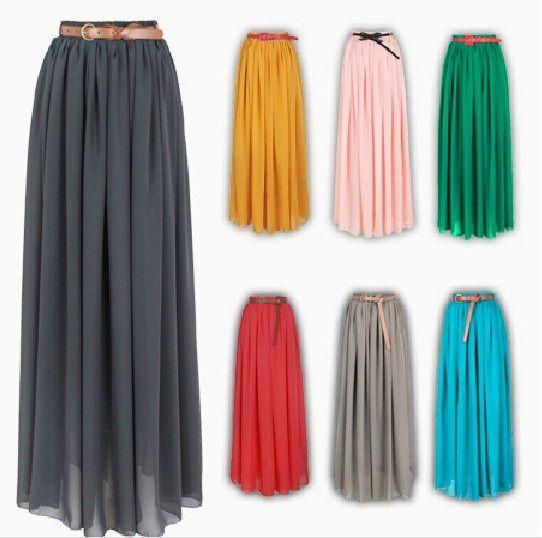 Elegant Wholecolored Pleated Chiffon Skirt  elfsacks