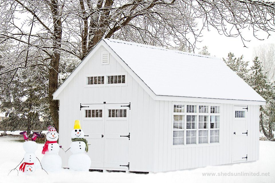 Elegant E50 6221   12x20 Premier Garden Storage Shed In PAPaint: White, Trim: