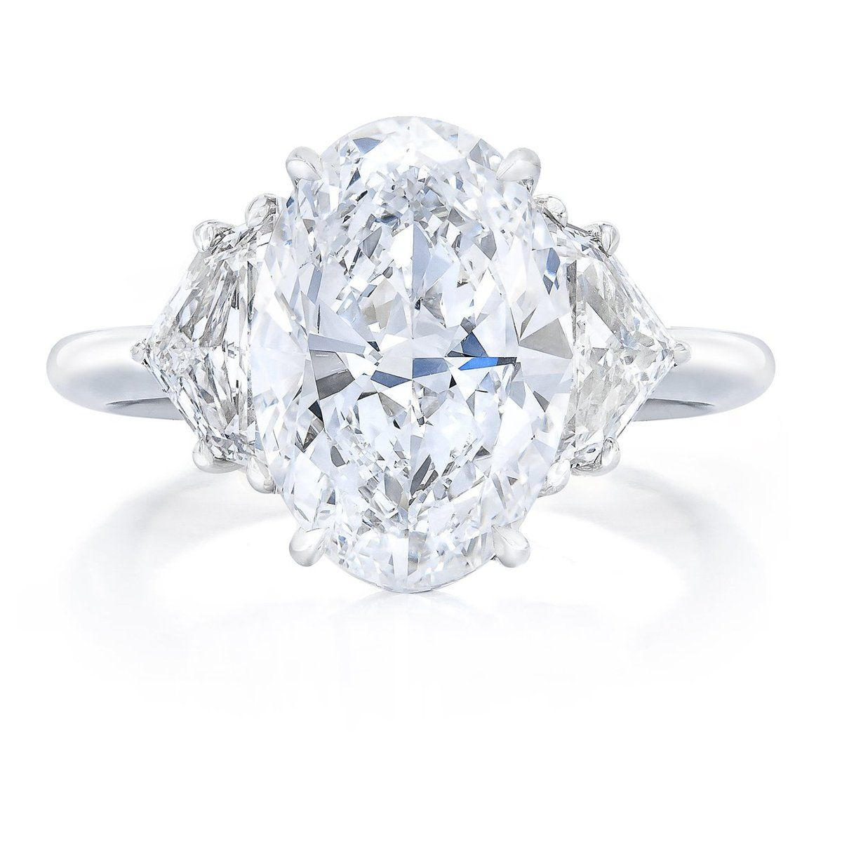 Oval with Epaulette Side Stones Engagement Ring Side