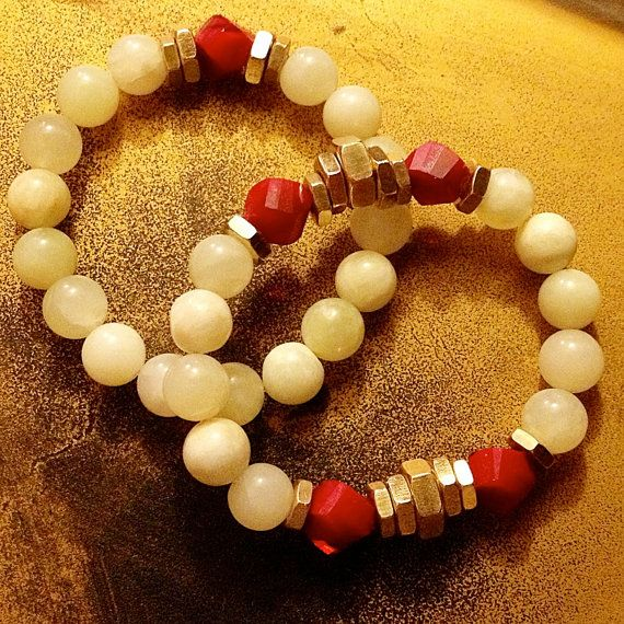 New Jade, Dark Red Coral Helix Beaded And Brass Hex Nut