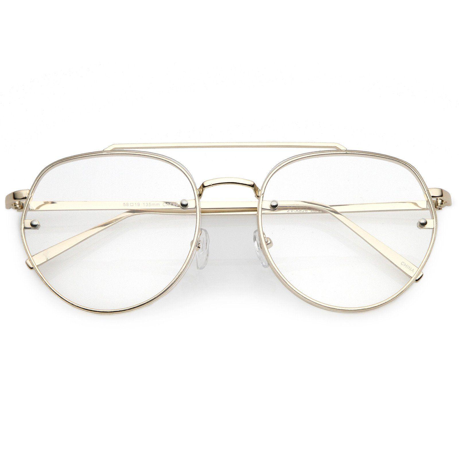 1ea5dacb039 Modern Round Aviator Eyeglasses Slim Brow Bar Rimless Clear Flat Lens 59mm   frame  bold  mirrored  cateye  sunglassla  womens  purple  summer   sunglasses   ...