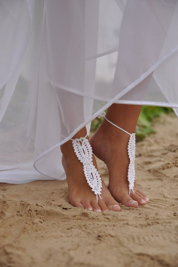 Beach Wedding White Crochet Barefoot Sandals Nude Shoes Foot Jewelry Bridal