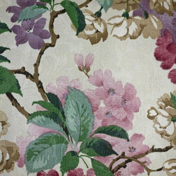 1 2 YARD UPHOLSTERY PRINT Purple Pink Flowers On Jacquard White 55 Wide Home Decor Fabric Mill Creek Green Leaves Heavy Wt Cotton B8