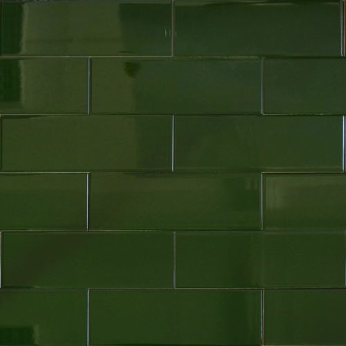 Victorian Metro Style Rectangular Glazed Ceramic Green Wall Tiles 30x10 Cm