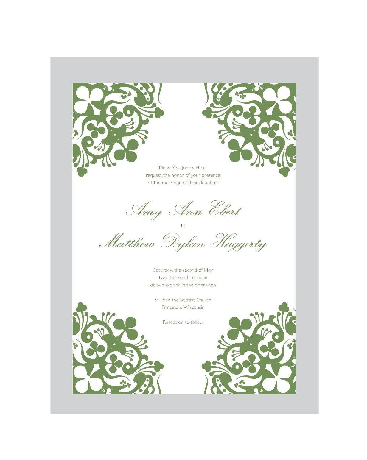 Shannon Irish Wedding Invitation Set Printable Diy