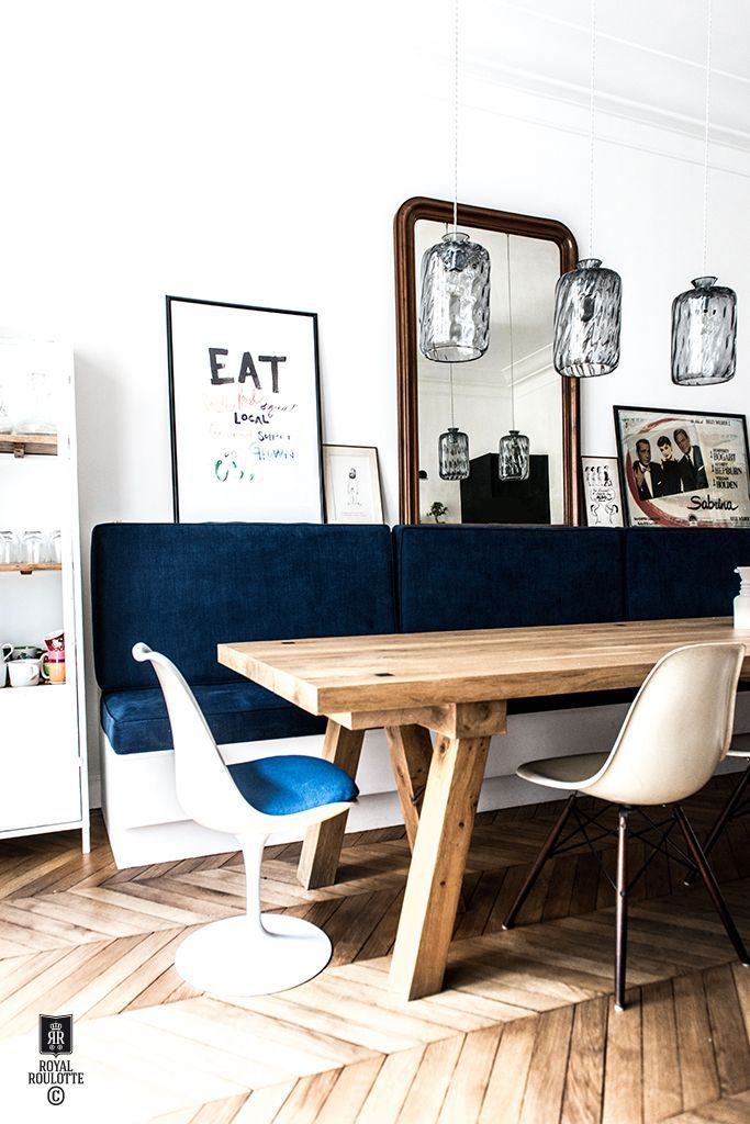 eclectic kitchen with Scandinavian style influence, cobalt blue