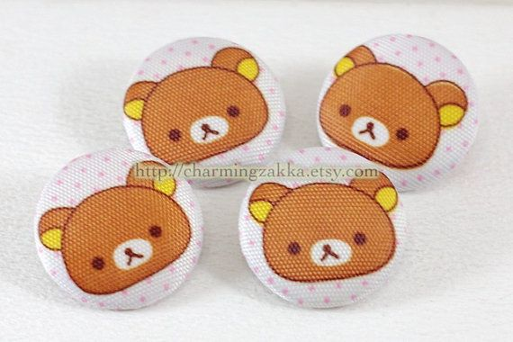 Fabric Covered Buttons (L) - Cute Rilakkuma's Bear, Coffee (4Pcs, 1.1 Inch). $5.00, via Etsy.