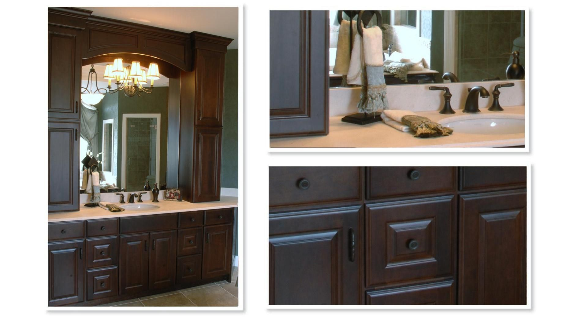 Dark Hardware On Cabinets With Oil Rubbed Bronze Light Fixture And Faucets For Hall Bathroom