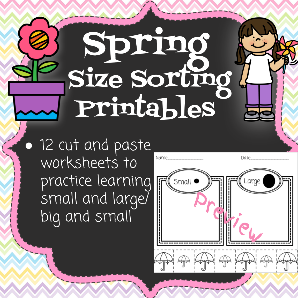 Sorting By Size Spring Printables In