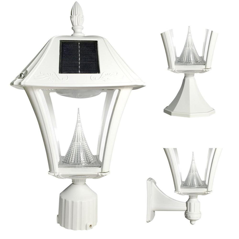 Gama Sonic Baytown II Outdoor White Resin Solar Post/Wall Light ...