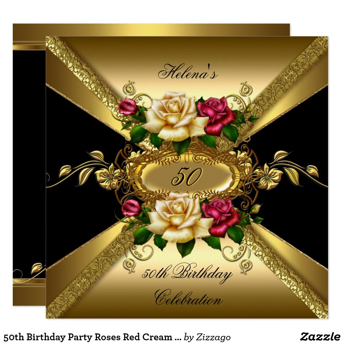 50th Birthday Party Roses Red Cream Gold Card Black Invitation Floral Flowers
