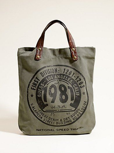 Guess Inc Logo Graphic Canvas Bag