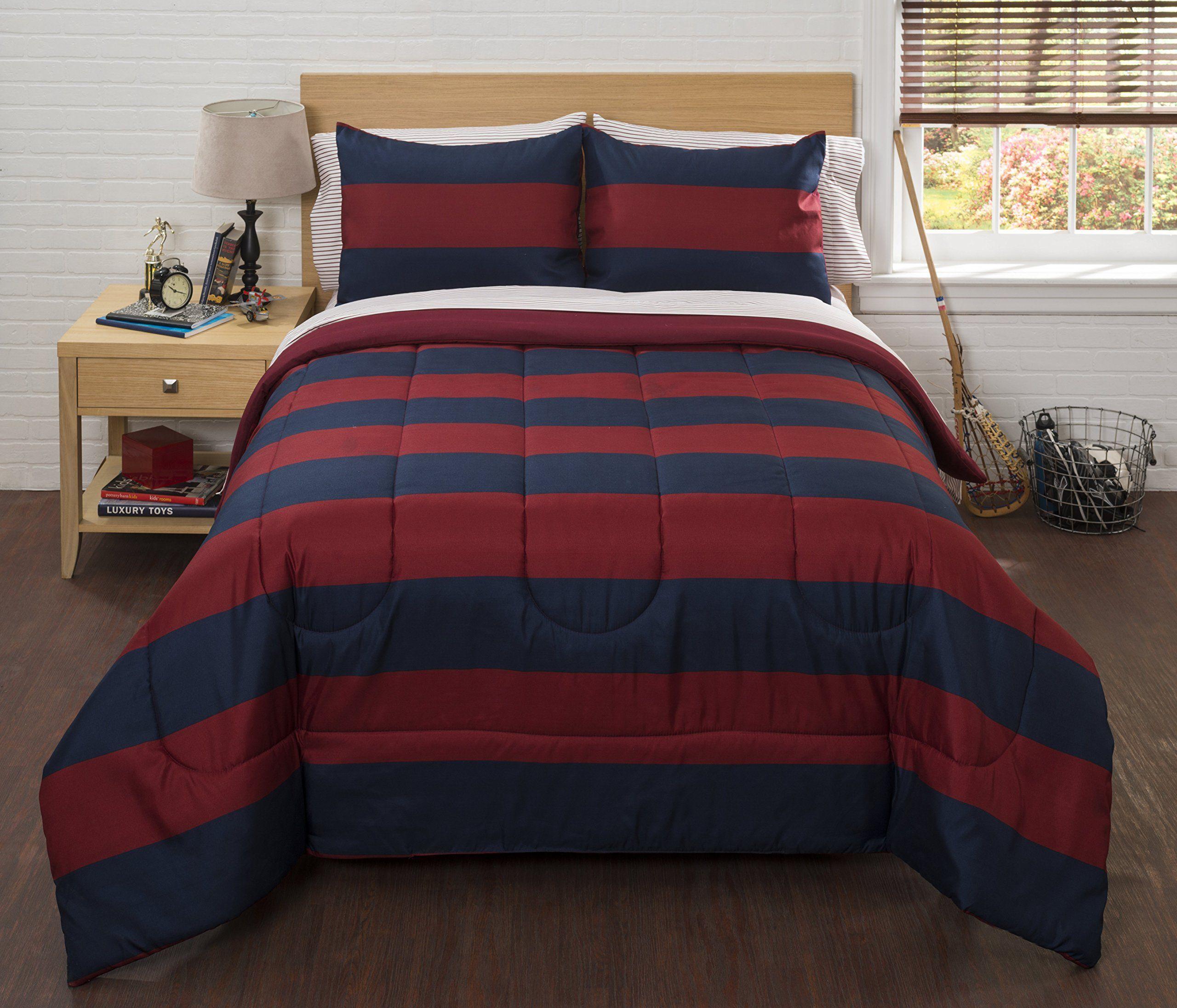 American Kids BK685980 Rugby Stripe Comforter Set Full 86