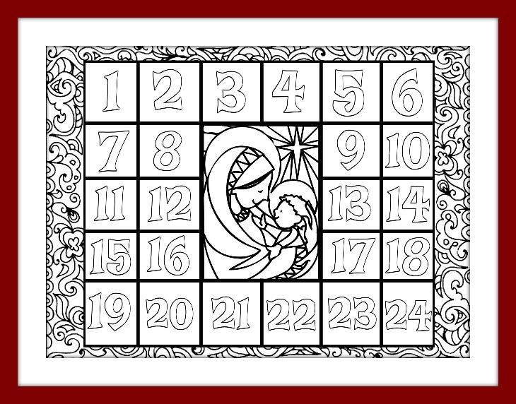 Christmas Coloring Advent Calendar Printable Pdf Download Xmas
