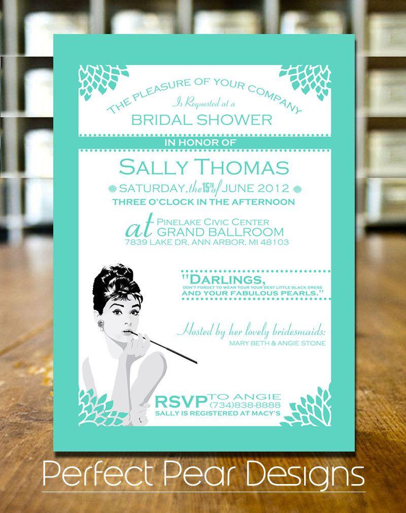 Breakfast at Tiffany\'s inspired Bridal Invitation - Tiffany Blue and ...
