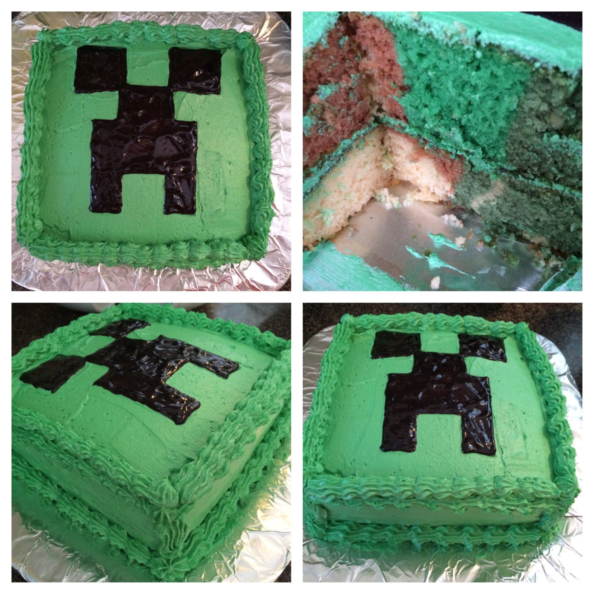 Minecraft Creeper Cake Frosted In Buttercream Used An Online Template For The Face And Traced It In Black Cake Gel With Images Minecraft Birthday Creeper Cake Cake Gel