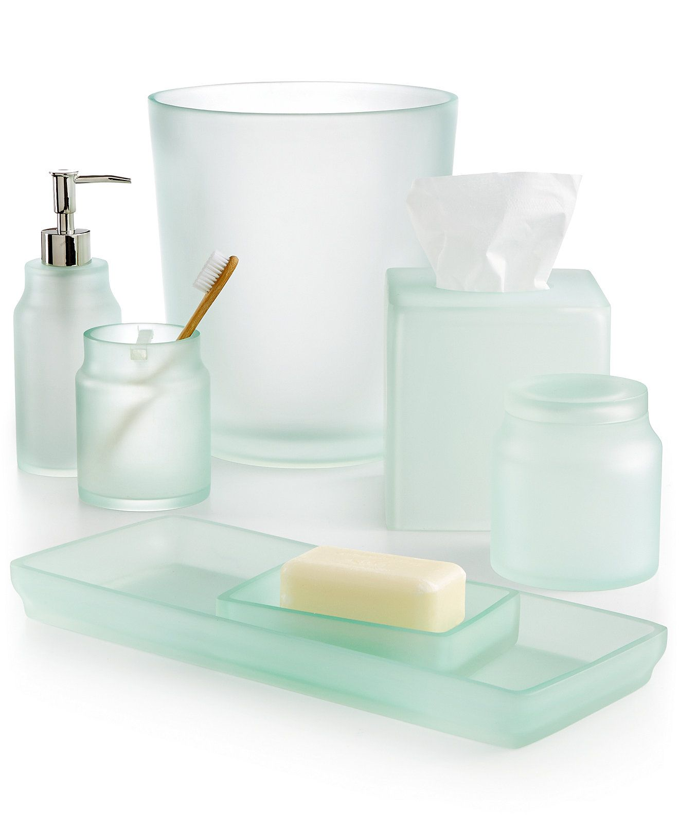 CLOSEOUT! Martha Stewart Collection Sea Glass Frost Bath Accessories ...
