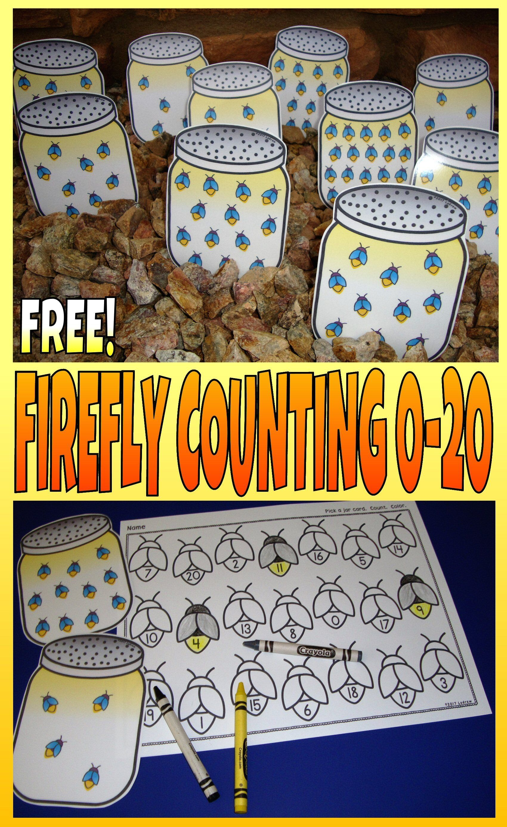 Bug Centers Spring Activities Free Firefly Count And Color 0 20 Insects Counting