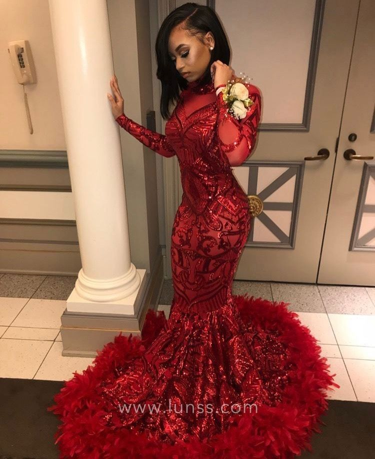ff1d96afcf5 Glistening Red Sequinned Long Sleeve Mermaid Feather Hemline Prom ...