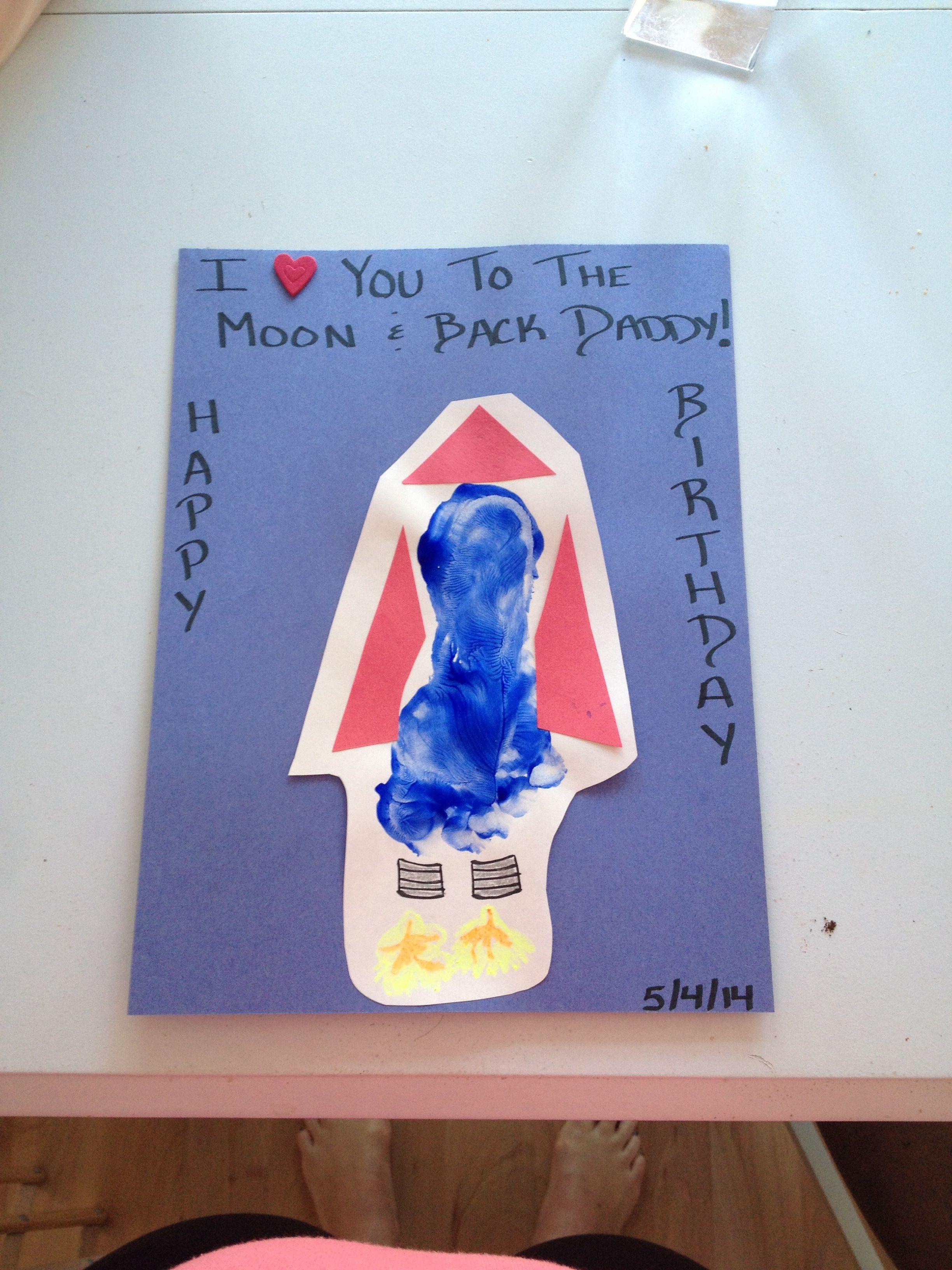 Rocket ship footprint birthday card for daddy  Teacher birthday