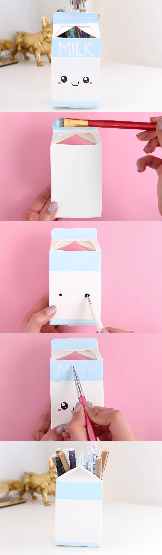 D co pour pot de crayon brique de lait cute ideas for Room decor nim c