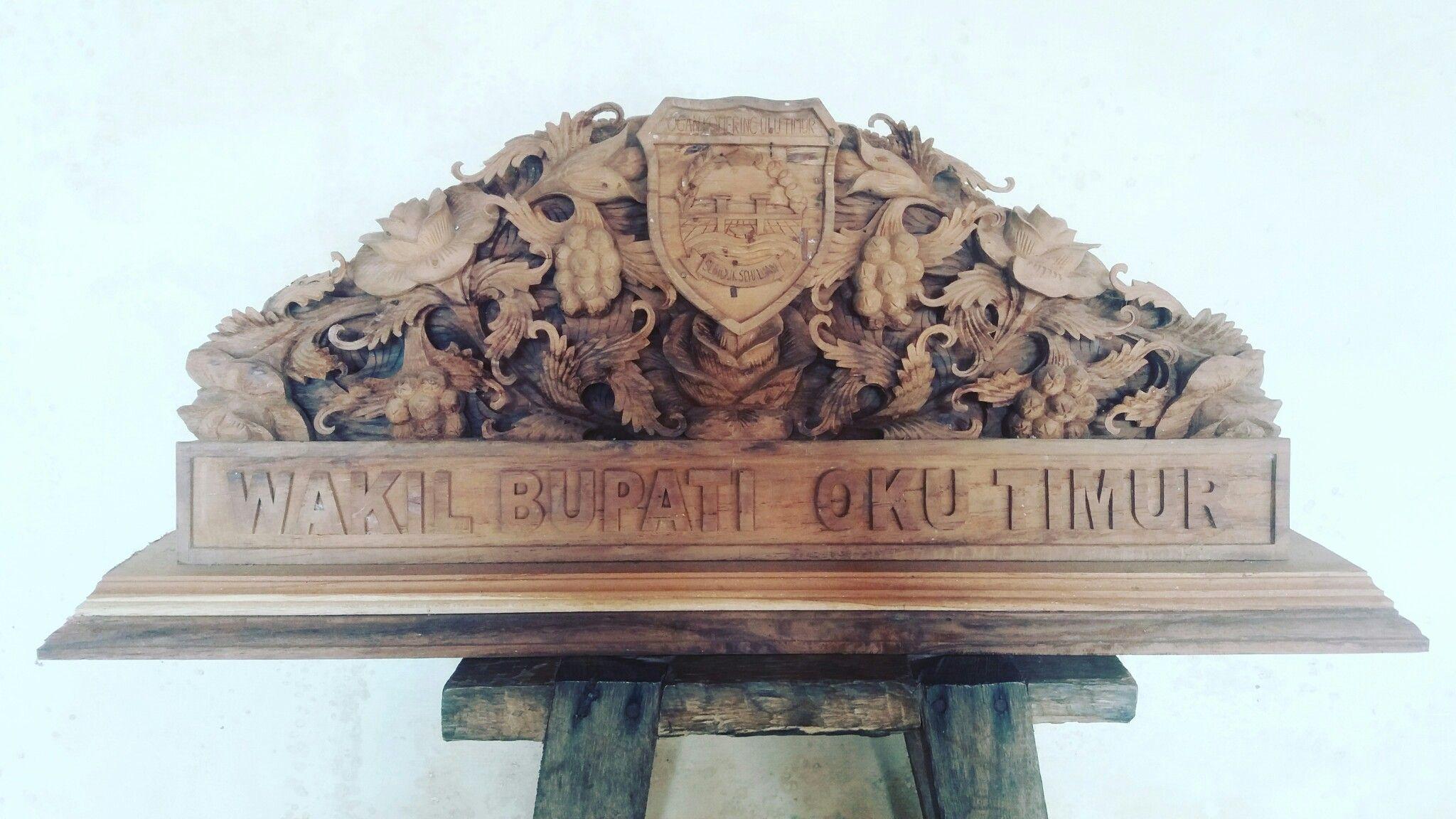 Papan nama ukir relief logo propinsi Ukiran, Kayu, Papan