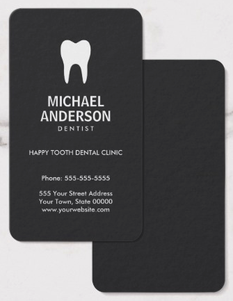 Dentist or dental assistant modern dark gray business card stylish dark dentist or dental business cards with white tooth logo on a dark gray background with or without rounded corners many paper types available colourmoves