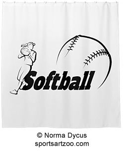Stylized Girl Softball Player Fielding Shower Curtain By SportsArtZoo Gift Showercurtain
