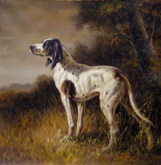 Hunting Dog Oil Painting 01 Hunting Painting Dog Paintings
